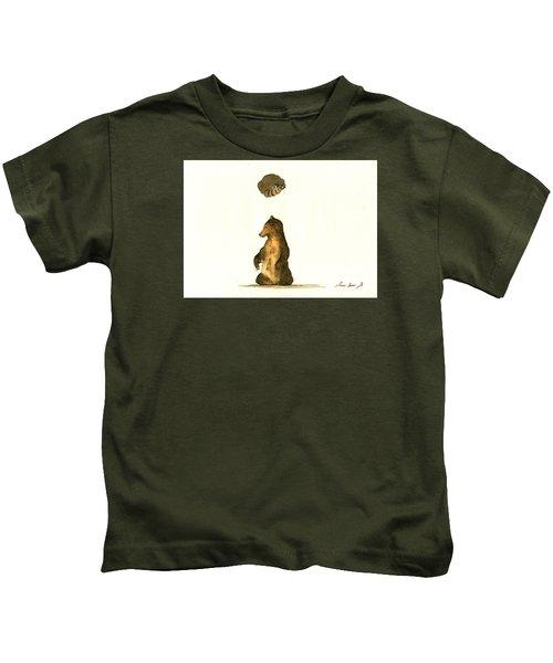 Woodland Letter I Kids T-Shirt by Juan  Bosco