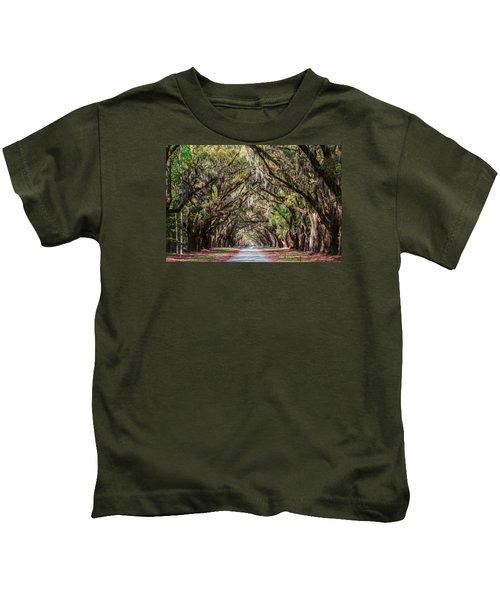 Wormsloe Plantation Oaks Kids T-Shirt