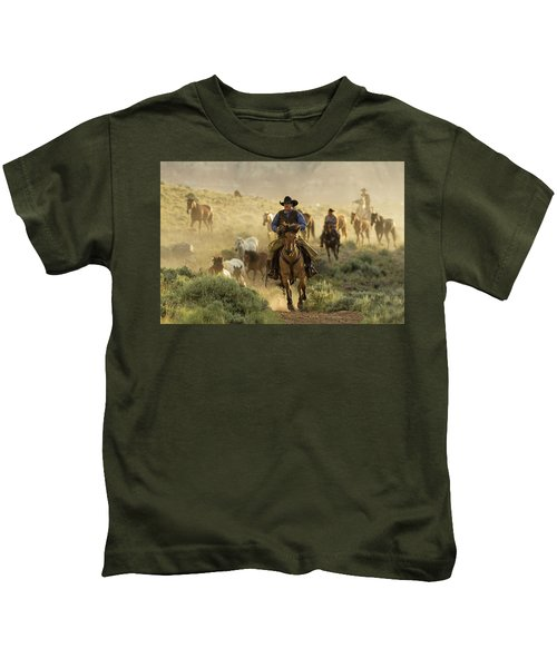 Wrangling The Horses At Sunrise  Kids T-Shirt