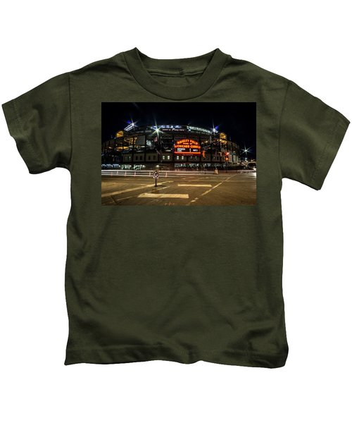 Wrigley Field Marquee At Night Kids T-Shirt