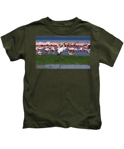 Yellow Billed Stork Kids T-Shirt