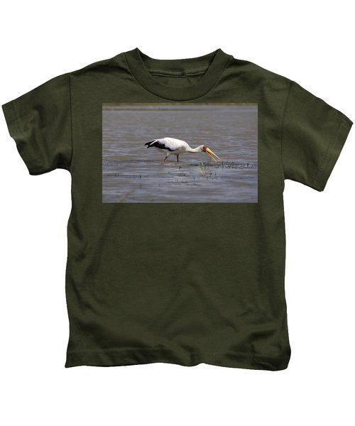 Yellow Billed Stork Wading In The Shallows Kids T-Shirt by Aidan Moran