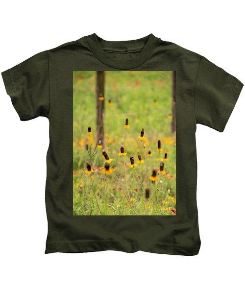 Yellow Cone Flower Kids T-Shirt
