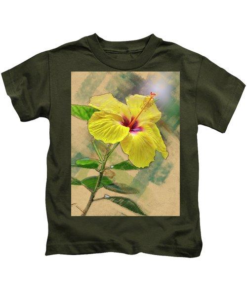 Yellow Hibiscus Kids T-Shirt