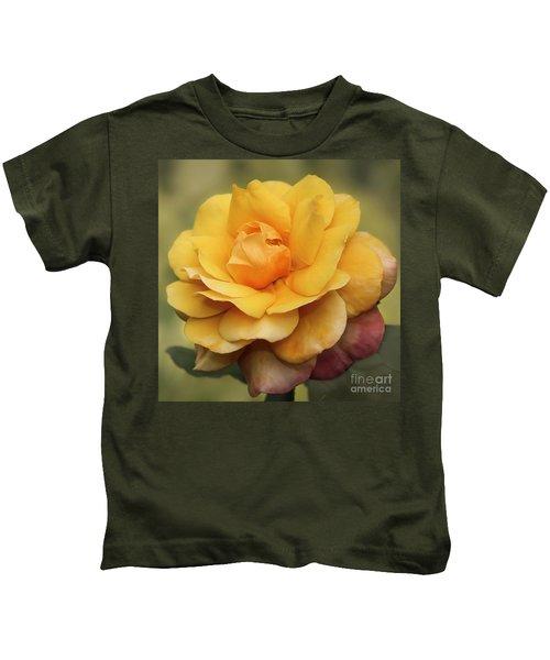 Yellow Rose Squared Kids T-Shirt