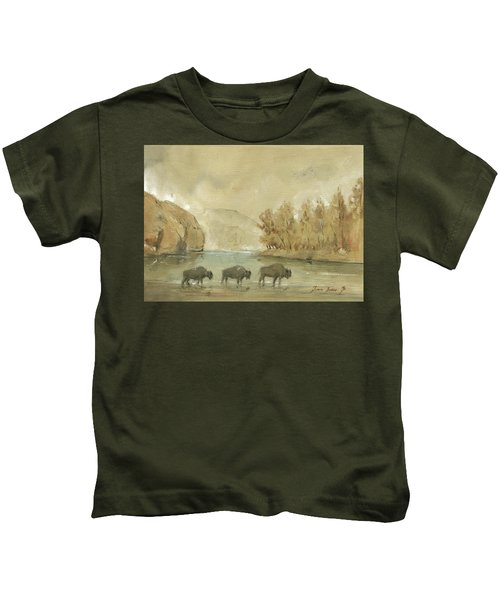 Yellowstone And Bisons Kids T-Shirt by Juan Bosco