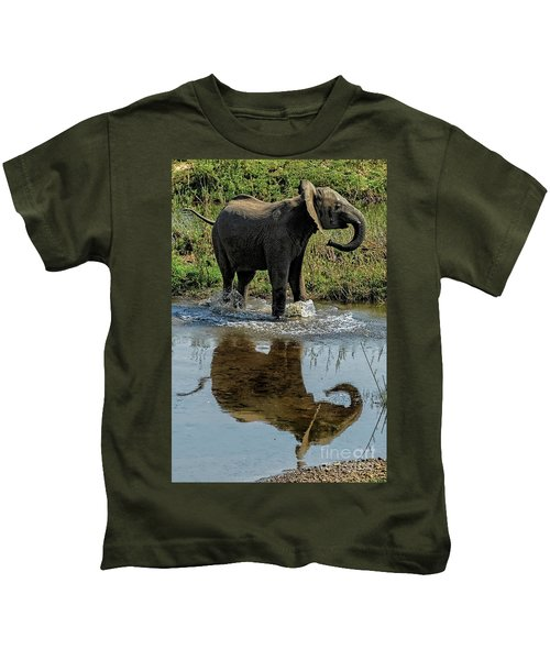 Young Elephant Playing In A Puddle Kids T-Shirt