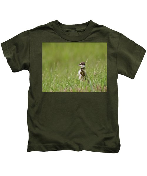 Young Killdeer In Grass Kids T-Shirt by Mark Duffy