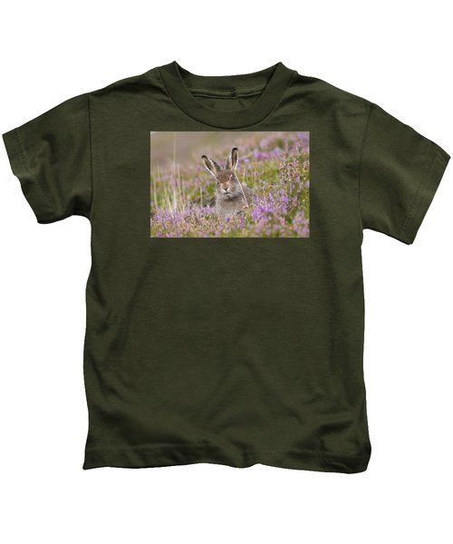 Young Mountain Hare In Purple Heather Kids T-Shirt