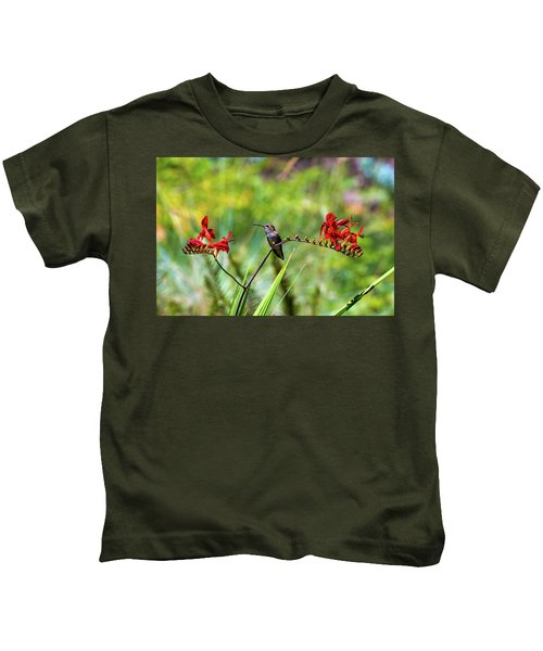 Young Rufous Hummingbird Perched On Flower Kids T-Shirt