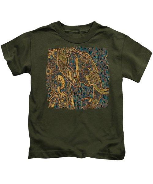 Zentangle Elephant-oil Gold Kids T-Shirt