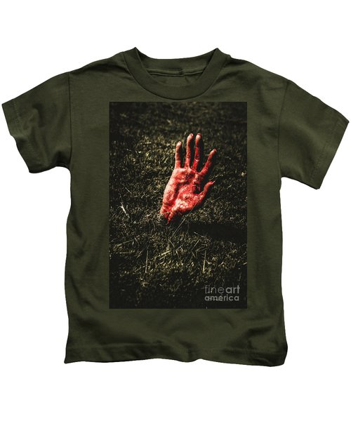 Zombie Rising From A Shallow Grave Kids T-Shirt