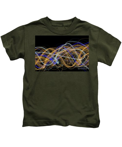Colorful Light Painting With Circular Shapes And Abstract Black Background. Kids T-Shirt