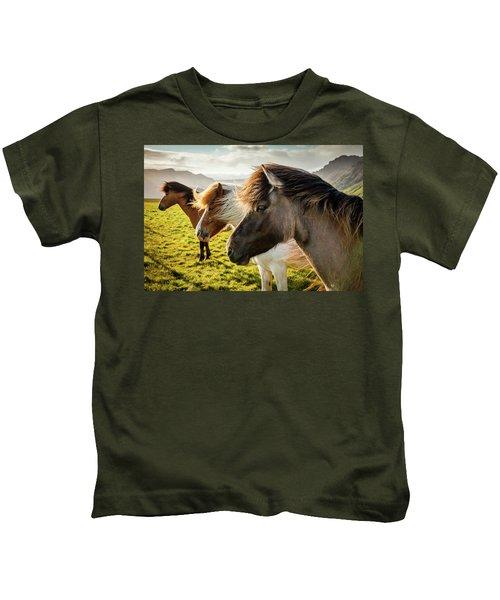 Icelandic Horses Kids T-Shirt