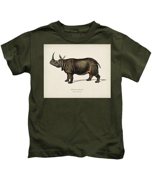 Indian Rhinoceros  Rhinoceros Unicornis  Illustrated By Charles Dessalines D  Orbigny  1806 1876  Kids T-Shirt