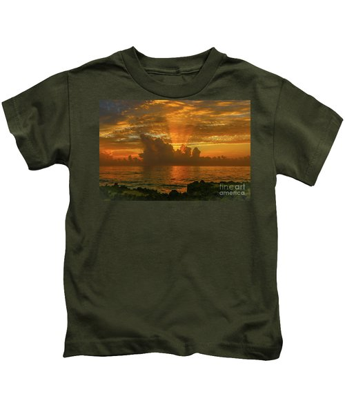 Orange Sun Rays Kids T-Shirt