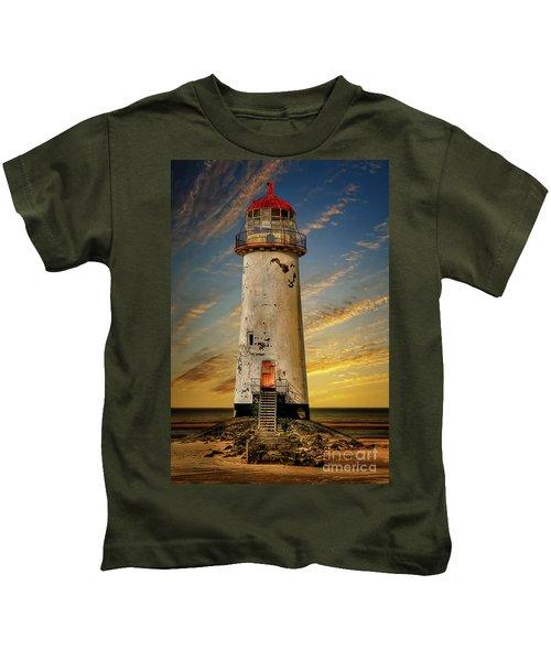 Point Of Ayr Lighthouse Sunset Kids T-Shirt