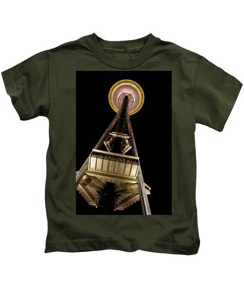 Seattle Space Needle At Night Kids T-Shirt