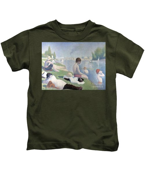 Bathers At Asnieres Kids T-Shirt