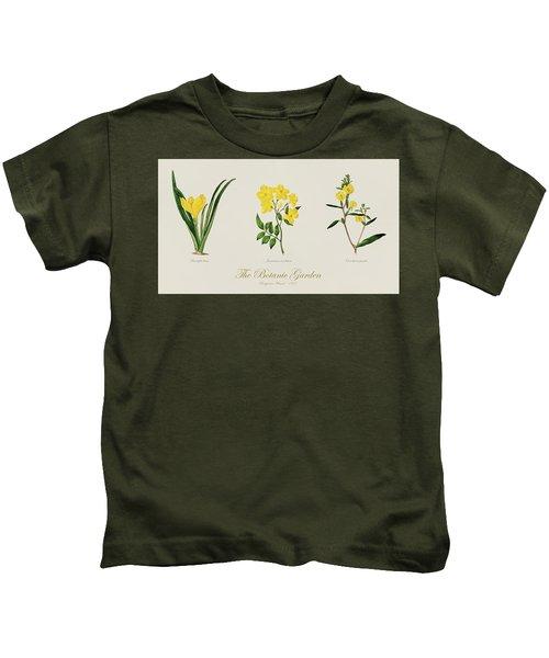19th Century Botanical Illustrations Of Flowers From The Botanic Garden By Benjamin Maund Kids T-Shirt