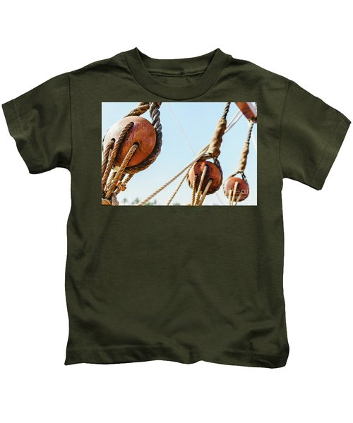 Rigging And Ropes On An Old Sailing Ship To Sail In Summer. Kids T-Shirt