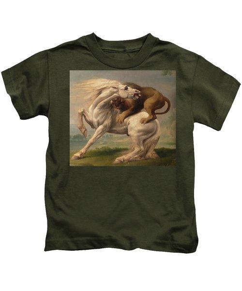 A Lion Attacking A Horse Kids T-Shirt