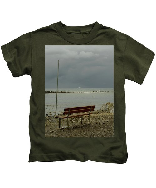 A Bench On Which To Expect, By The Sea Kids T-Shirt