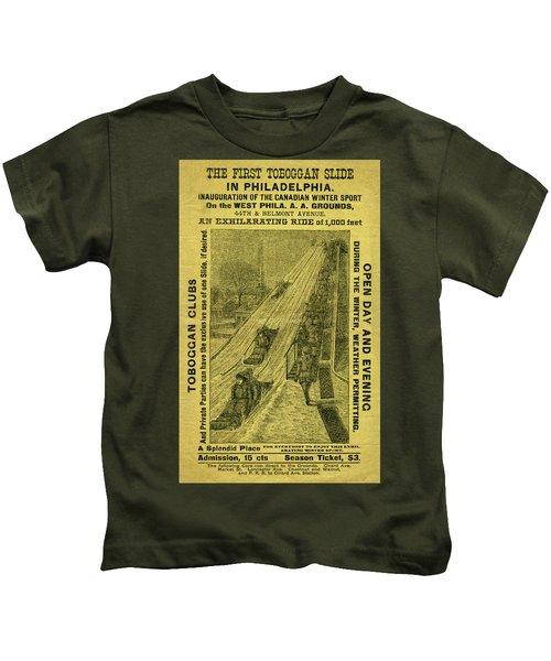 Advertisement For The First Toboggan Slide In Philadelphia Kids T-Shirt