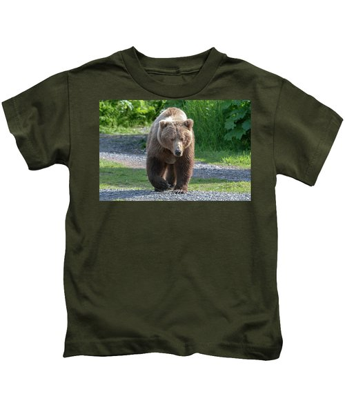 Alaskan Brown Bear Walking Towards You Kids T-Shirt