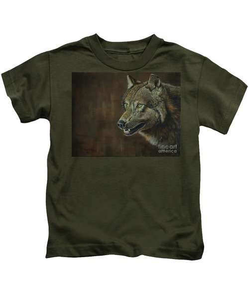 Alpha Male ......the Gray Wolf Kids T-Shirt