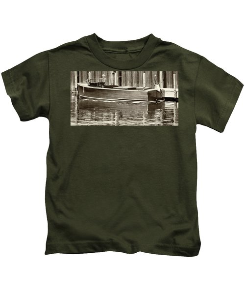 Antique Wooden Boat By Dock Sepia Tone 1302tn Kids T-Shirt