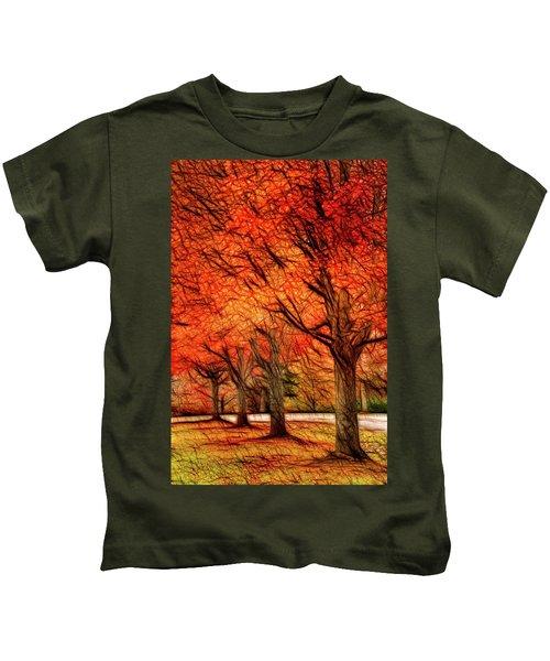 Artistic Four Fall Trees Kids T-Shirt