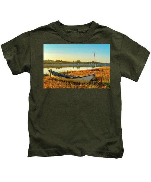 Boats In The Marsh Grass, Ogunquit River Kids T-Shirt