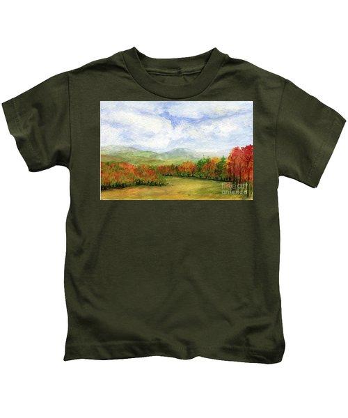 Autumn Day Watercolor Vermont Landscape Kids T-Shirt