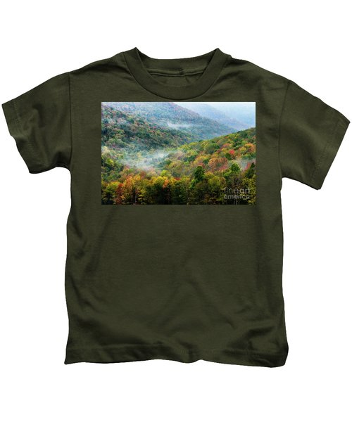 Autumn Hillsides With Mist Kids T-Shirt