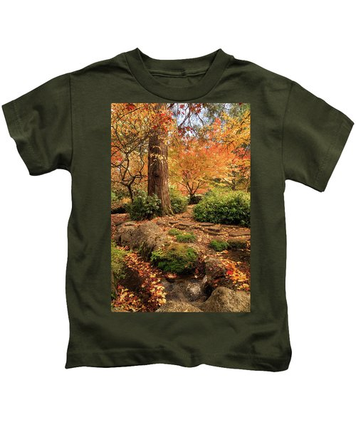 Autumn Stream In Lithia Park Kids T-Shirt