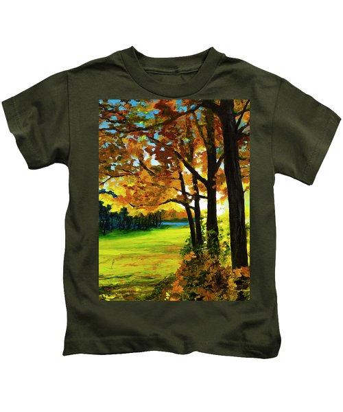 Sunset Over The Park Kids T-Shirt