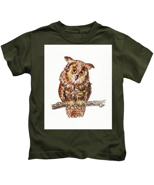 Baby Owl Watercolor For Baby Room  Kids T-Shirt
