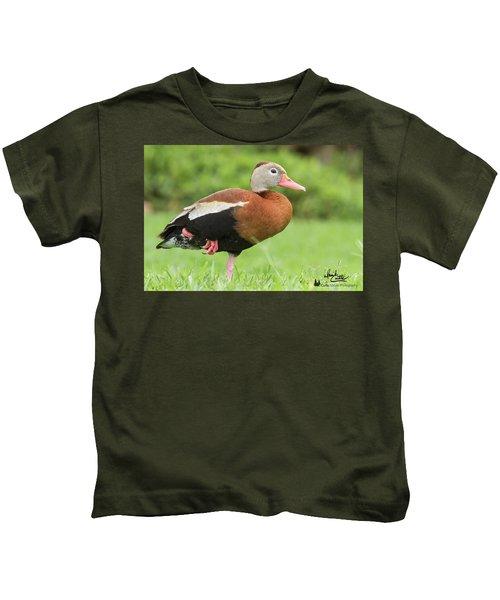 Balancing Black Bellied Whistling Duck Kids T-Shirt