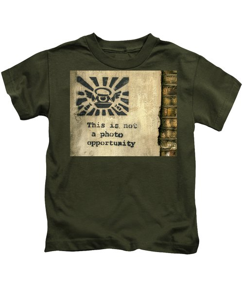 Kids T-Shirt featuring the photograph Banksy's This Is Not A Photo Opportunity by Gigi Ebert