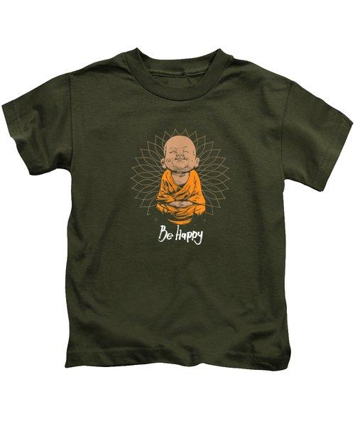Be Happy Shirt Zen Little Buddha Tshirt Mandala T-shirt Gift Kids T-Shirt