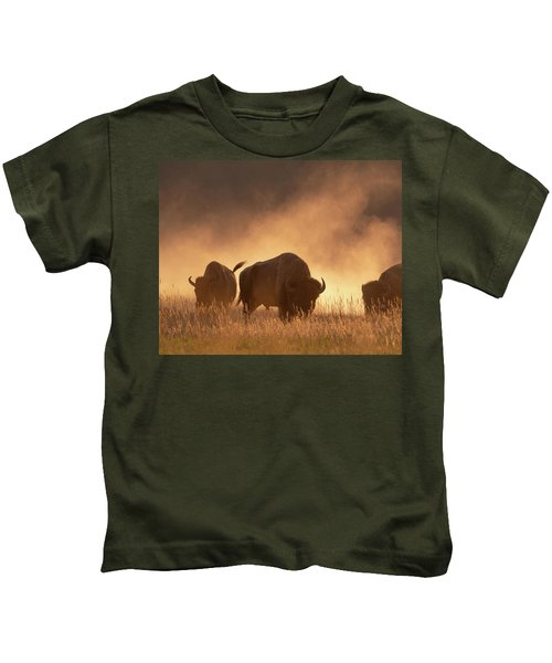 Bison In The Dust Kids T-Shirt