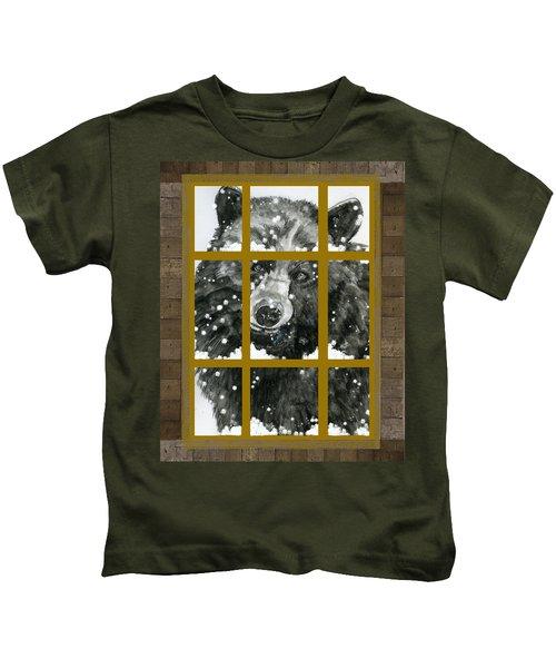 Black Bear, Outside My Window Kids T-Shirt