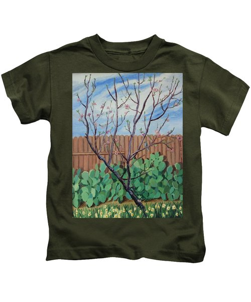Blooming Peach In Our San Antonio Backyard Kids T-Shirt