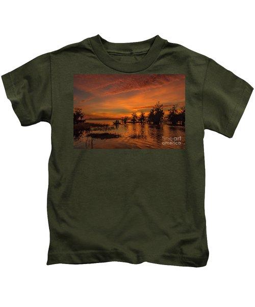 Blue Cypress Sunrise With Boat Kids T-Shirt