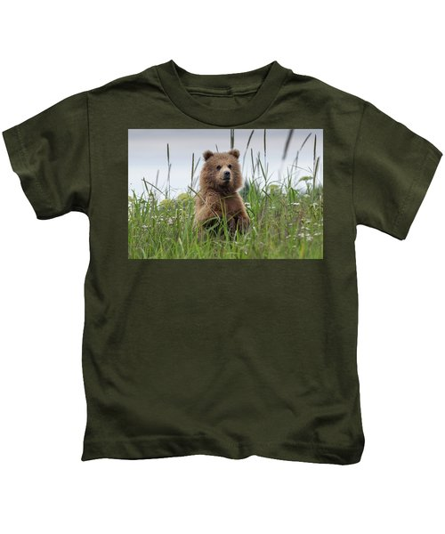 Brown Bear Cub In A Meadow Kids T-Shirt