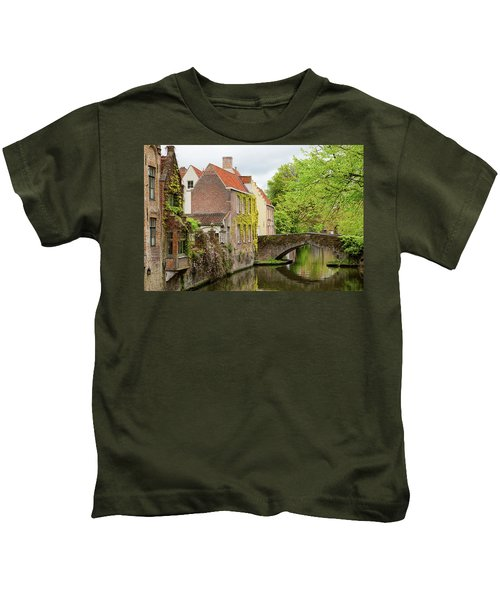 Bruges Footbridge Over Canal Kids T-Shirt