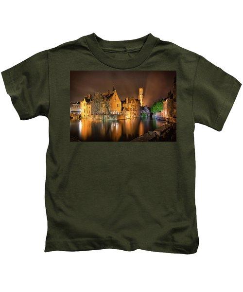 Brugge Belgium Belfry Night Kids T-Shirt