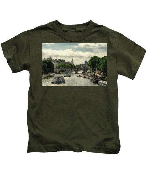 Busy Morning On The Seine Kids T-Shirt