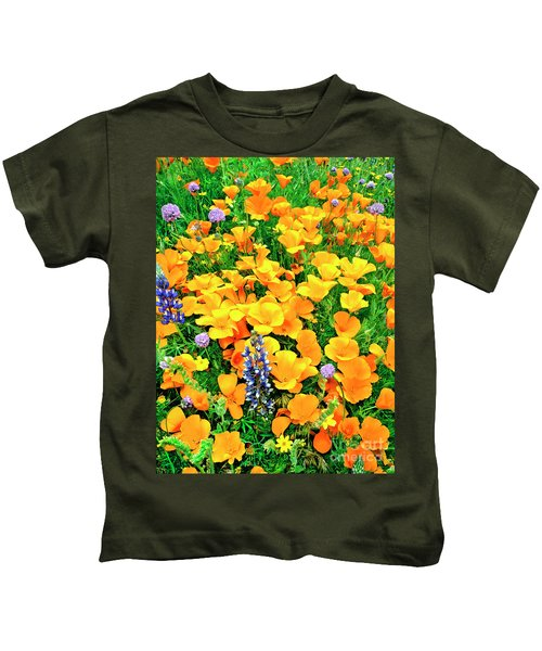 California Poppies And Betham Lupines Southern California Kids T-Shirt